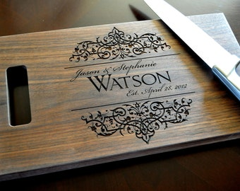 Personalized Cutting Board Laser Engraved Walnut 8x14 Wood Cutting Board CB814