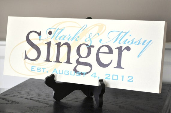 Last Name Sign Personalized Family Name Sign Established Plaque Painted Sign 7x20