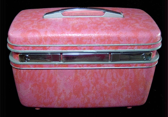 Vintage Pink Marbled Train Case Samsonite With By Foreversexy