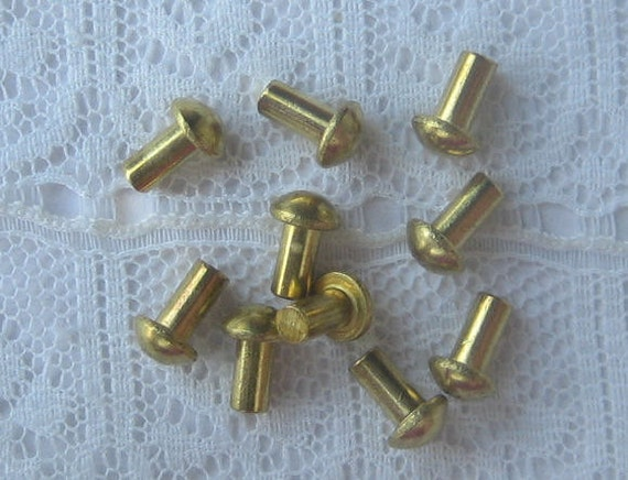 Solid Brass Rivets 3/32 hole x 3/16 length Qty 10