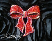 50mm Silver Metal Plated RED BOW Rhinestone Brooch Pin - wedding / hair / dress / garment accessories