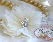 New: 4 pieces Ivory Champagne Small Tulle Mesh Flowers With rhinestone Pearl Center Poof Flowers Hair accessories