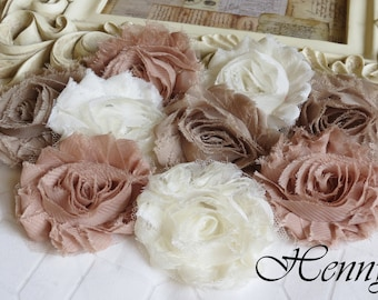 Set of 9 Shabby Frayed Vintage look Chiffon Rosette Flowers - Natural Colors Appliques