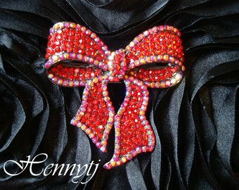 50mm Silver Metal Plated RED BOW Rhinestone Brooch Pin - wedding / hair / dress / garment accessories