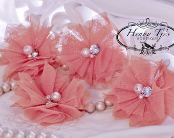 Elena TULLE : 4 pieces  SALMON Coral Small Tulle Mesh Flowers With rhinestone Pearl Center Poof Flowers Hair accessories