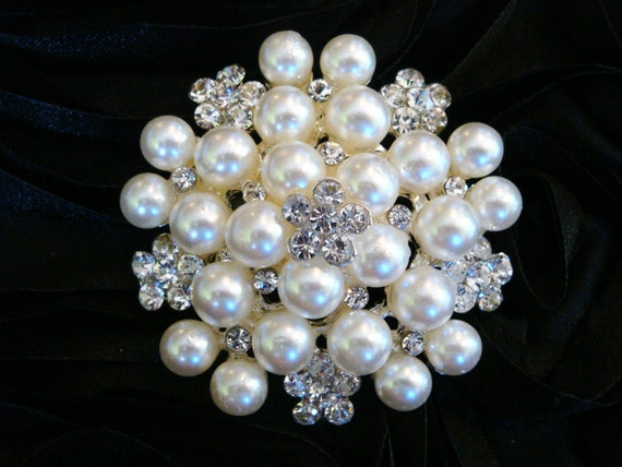 STUNNING 2 pcs - 48mm Rhinestone Perfectly Pearl Cluster Brooch Embellishment Wedding Accessories, Bridal brooch