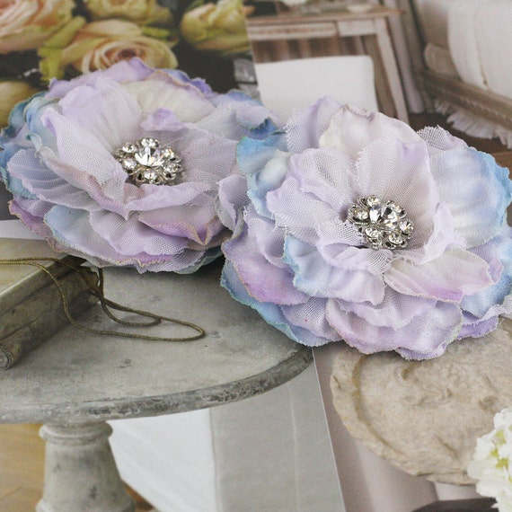 NEW: Bravo Collection - Vintage Style Lilac lavender tones Layered Fabric Flowers with sparkling rhinestone Center