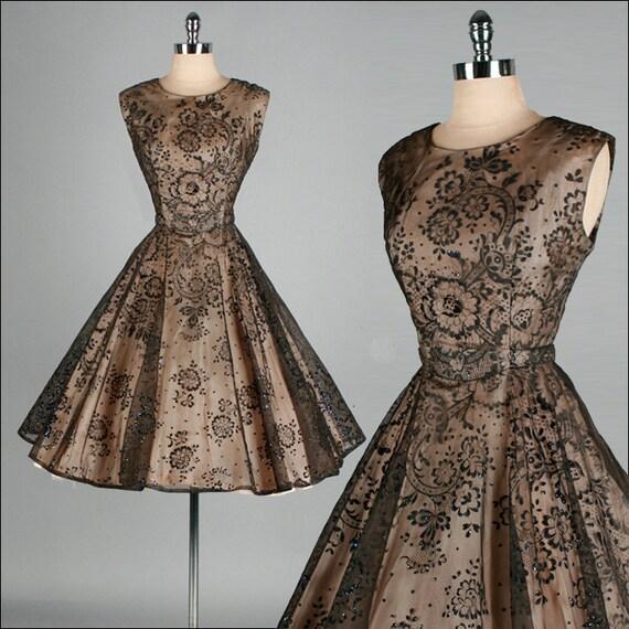 Vintage 1950s Dress . Black Sheer Chiffon . Full Skirt . Flocked Flowers . XS/S . 1487