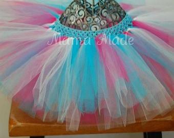 Fuchsia, White and Turquoise Tutu, pink and blue tutu, pink blue and white tutu, flower girl tutu, birthday tutu, blue and pink tutu