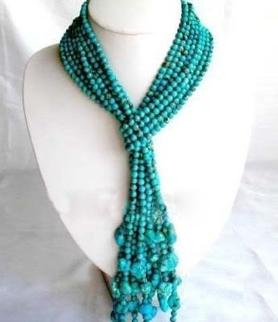 Necklace - Real Turquoise Scarf - 4 long strings of 6mm Tibetan beads