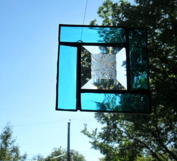 azure blue and bevel stained glass suncatcher
