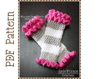 Leg Warmer Crochet Pattern, Ruffled Leggies, DOUBLE RUFFLE - pdf 708