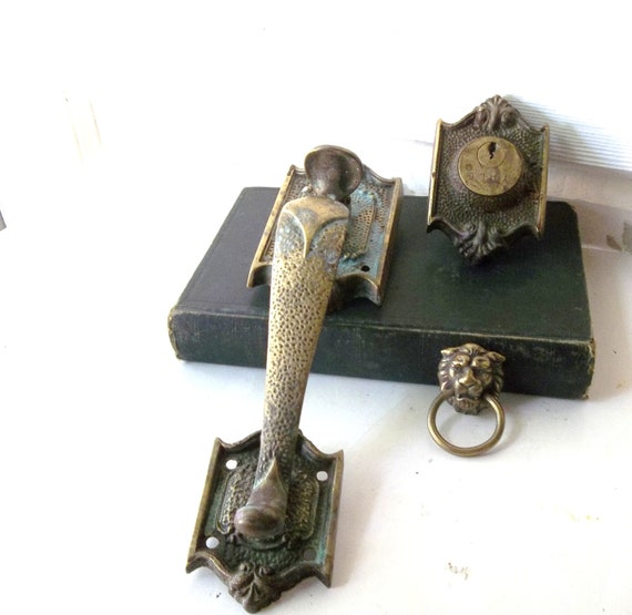 Ornate Brass Door Thumb Latch Handle with Matching Lock. Salvaged Antique hardware. Architectural Ornate Designs