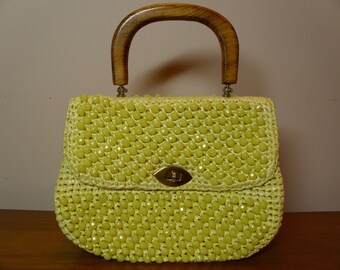 Vintage Marchioness Yellow Beaded Handbag
