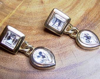 Vintage Large Rhinestone Dangle Pierced Earrings Signed S.A.L.