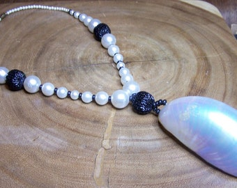 Faux Pearl  Necklace with Shell Center Unsigned