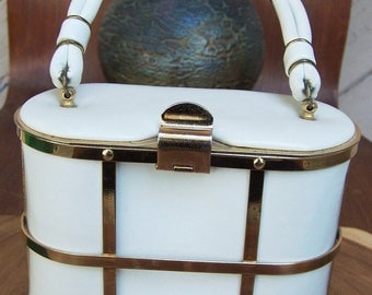Vintage White Vinyl Gold Cage Handbag by Etra