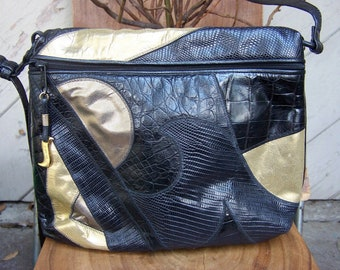 Vintage Gold Black Leather Patch Work Pattern Handbag Signed Sharif