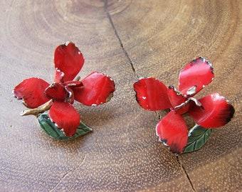 Red Rose Metal Clip Earrings Signed Judy Lee