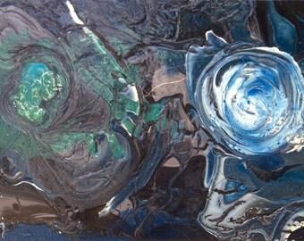 Two Moon 5 painting inspired by 1Q84 Book by Haruki Murakami