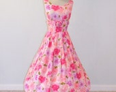 1950s Dress, Vintage 50s Pink Floral Cotton Print Garden Party Sun Dress, Full Skirt Rosette Susan Ross