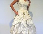 RESERVED Vintage 50s Wedding Dress, Ivory Taffeta Formal Party Prom Dress, Cascading Petal Skirt Faux Pearls, XXS Vintage Dress