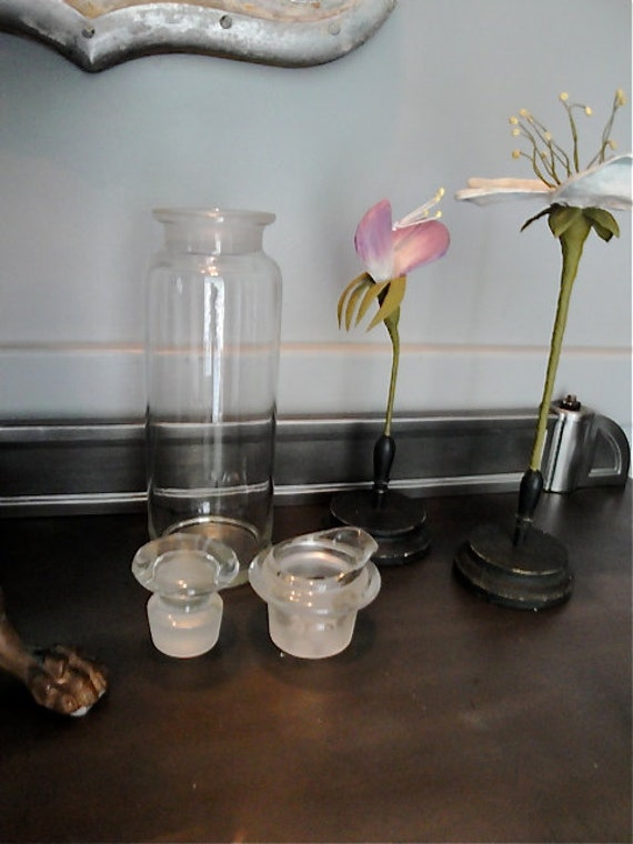 RESERVED LISTING Vintage glass apothecary three part jar jar