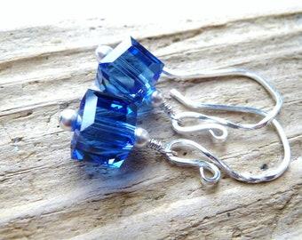 Sapphire Blue Earrings, Swarovski Crystal Cube Earrings, Dark Blue Earrings, Sterling Silver Earrings, Nautical Blue, September Birthstone
