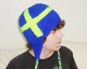 Hand Knit Hat Mens Hat - Sweden Flag Hat in Blue & Neon Yellow - Winter Fashion Winter Accessories  - WINTER SALE