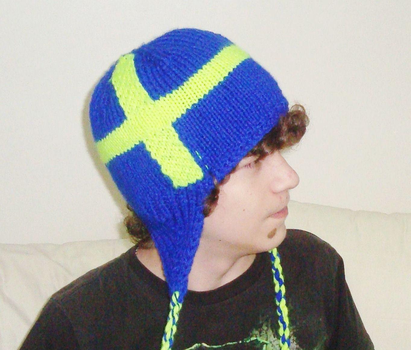 hand knit hat mens hat sweden flag hat in blue u0026 neon yellow
