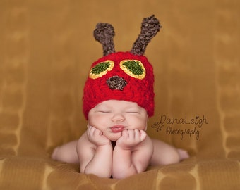 Caterpillar Hat and Cocoon Pattern - Crochet - Newborn - Photo Prop - Hat and Cocoon - Baby Shower - Accessory - Costume