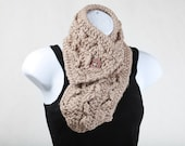 Black Friday Cyber Monday Sale Clearance - was 37 -Taupe Light Brown Tan Chunky NeckWarmer Scarflette Cowl with Cranberry Wine Red Button