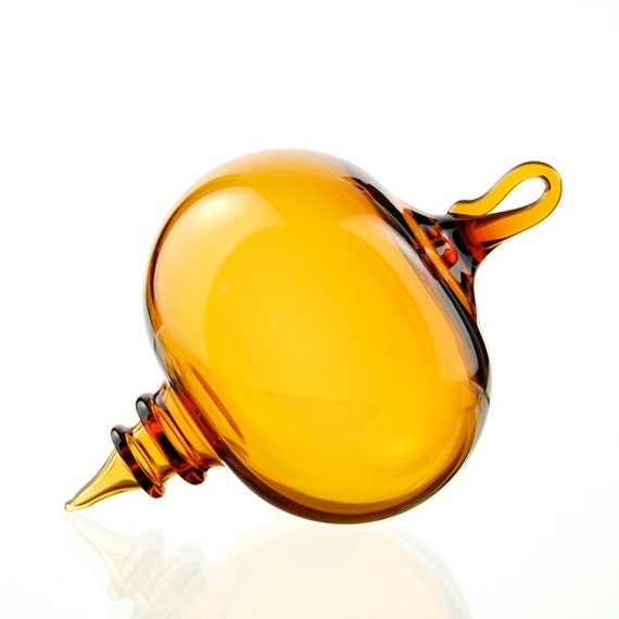 Hand Blown Glass Ornament, Amber Yellow with Rings