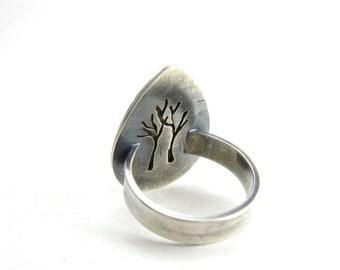 Statement Landscape Jasper Sterling Silver Tree Ring Darkened Silver Hidden Secret Jewelry Wood Bark