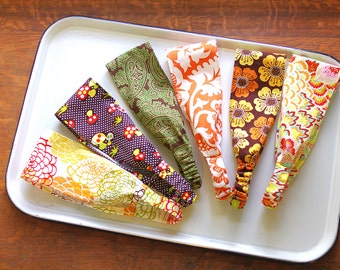 Wide Headbands Set of 3: Fall Harvest Patterns- Mushrooms- Mums- Brown Orange Olive- You Choose from 42 patterns- Ready to Ship