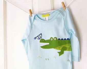 SALE 6-12m Baby Boy Alligator Onesie- Blue & Green Handmade Alligator Applique Bodysuit- Baby Shower Gift- CLEARANCE