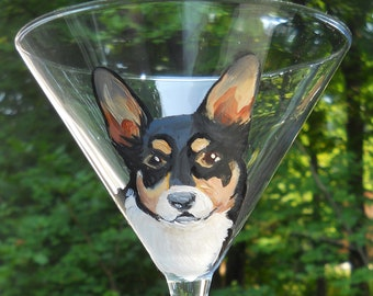 Corgi Martini Glass ~ Hand Painted Dog Glass ~ Corgi Gift ~ Pet Martini Glass ~ Corgi Owner's Gift ~ Gifts for Him