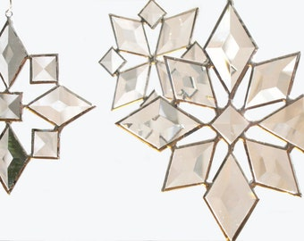 Star Sun Catcher SET of 3 Beveled Stained Glass Snowflake Christmas Suncatcher Handmade OOAK