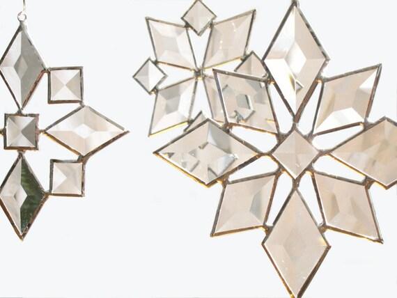 Star Sun Catcher SET of 3 Beveled Stained Glass Snowflake Christmas Suncatcher Handmade OOAK