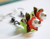 Earrings. Christmas, Gorgeous, Flower, Dangle, Red, OOAK, For Her. Handmade jewelry by AnotherUse on Etsy.