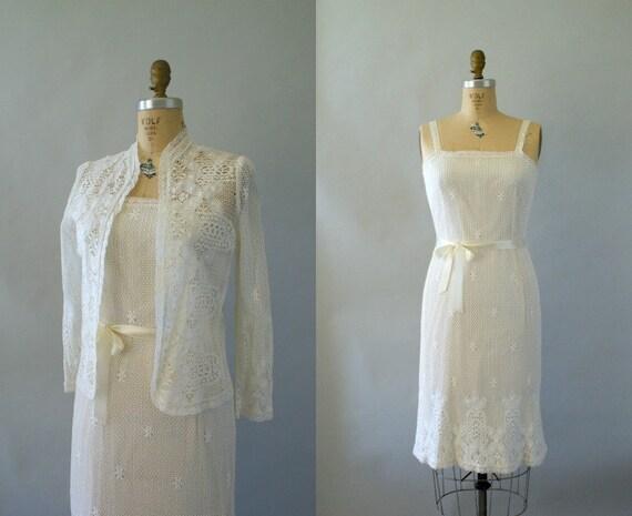 Vintage 1970s Wedding Dress -- Delicate Ivory Crochet Lace Wiggle dress and Jacket Set