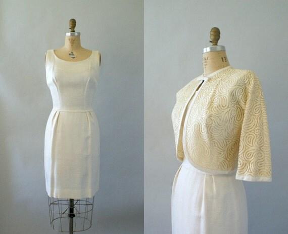 Vintage 1950s Dress and Bolero -- Creamy Ivory Linen Dress &  Paisley Crochet Lace Bolero  -- Casual Vintage style Wedding
