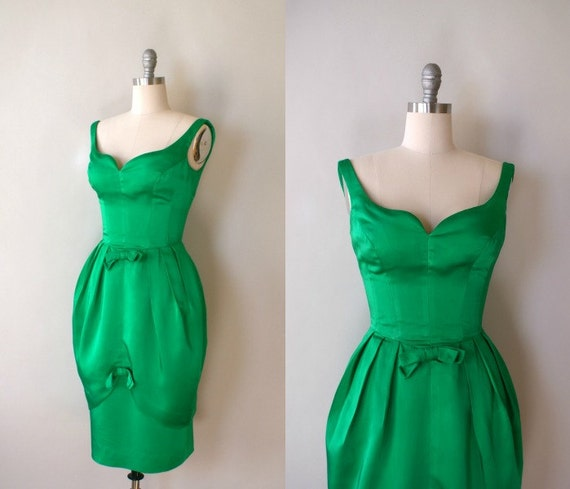 RESERVED  LISTING  Vintage 1950s Green Satin Cocktail Dress - 50s Green Holiday Dress
