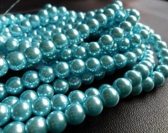 Baby Blue Glass Pearls 6mm Round Full Strand (babyblue6)