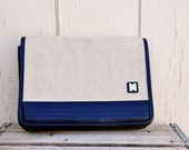 Vintage Retro Beige and Blue Oversized Clutch with Long Handle