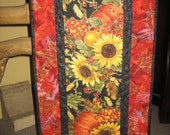 Quilted Table Runner Sunflowers and Pumpkins
