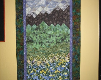 Art Quilt , Purple Irises , Purple Sky Mountain , Fabric Wallhanging Quilted Handmade