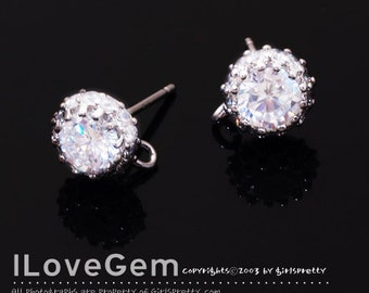 NP-1373 Nickel Free Rhodium plated, 7mm CZ, Earrings, 925 sterling silver post, 2pcs