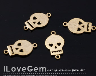 NP-1286 Matt Gold plated, mini Skull, Connector, 4pcs