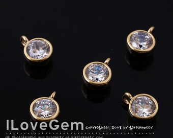 NP-1405 Gold plated, 6mm CZ, dangle, 2pcs